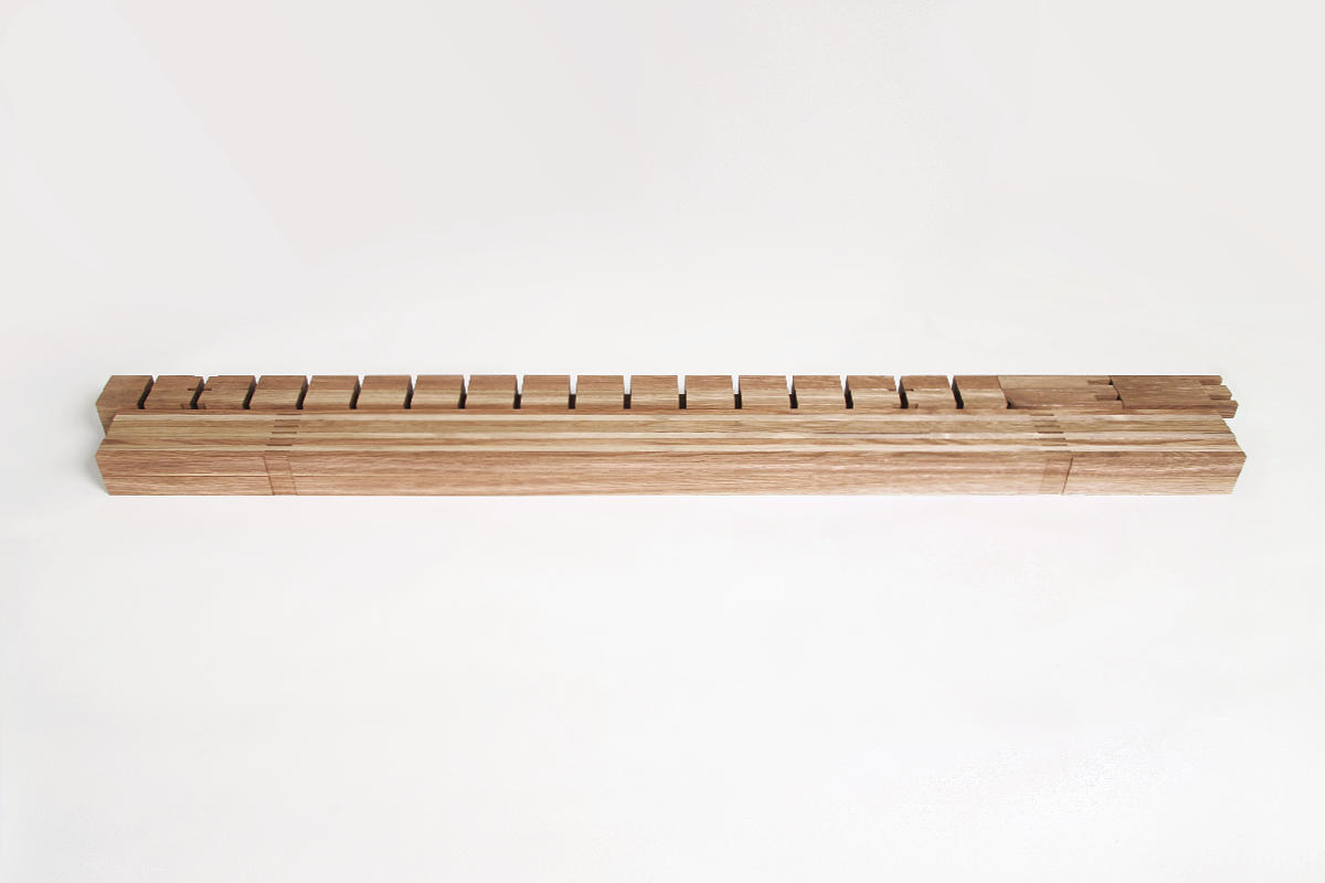 A minimalistic bed frame for Futon madrasses. No glue, no screws or nails are used in the production. Only a saw and a planer is needed. Sturdy, durable and easy to pick appart and transport. Inspired by the japanese architecture and lifestyle. Olli Karvonen