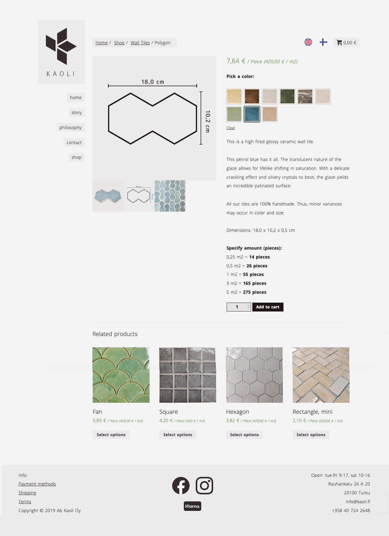 Webshop and website for Kaoli, based on the layout designed by the owner Casper Tuomaala. Made by Olli Karvonen.