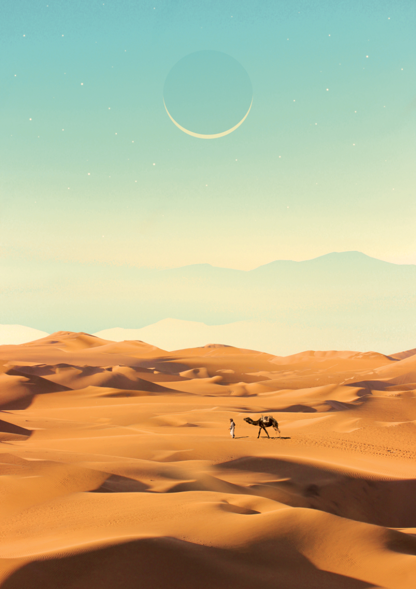 Graphic art poster. The Nomad done with photomanipulation by Olli Karvonen.