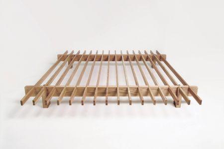 Minimalistic minimalism bedframe for futon mattresses by Olli Karvonen.